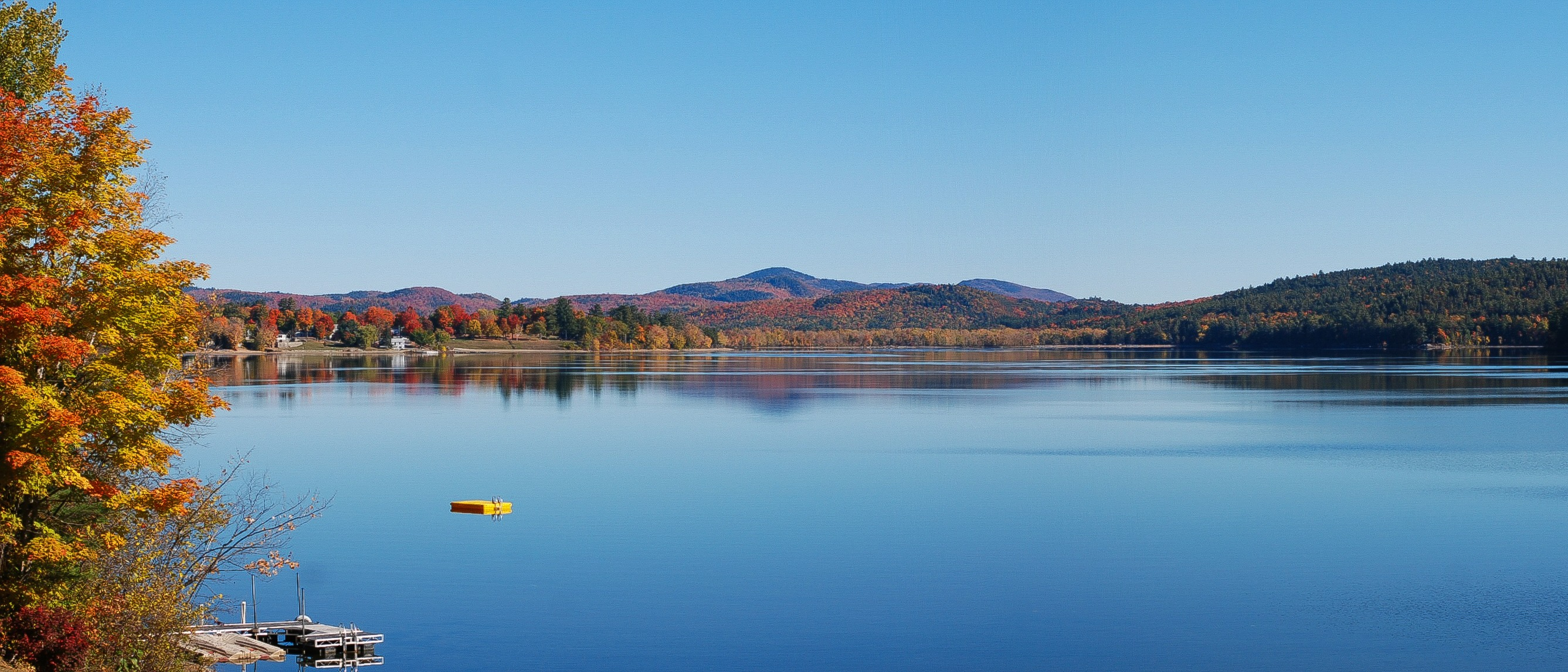 Schroon Lake beach across the water